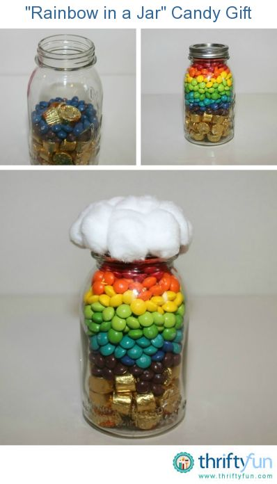 "This is a great gift, especially around St. Patrick's Day. This is a guide to making a ""Rainbow in a Jar"" Candy Gift."