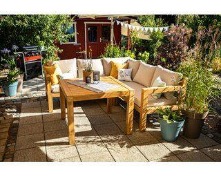 Lounge Set Mit Esstisch Morenci 4 Teilig Aus Akazienholz Fsc Kaufen Bei Obi Eckbank Mit Tisch Lounge Terrassenmobel Lounge