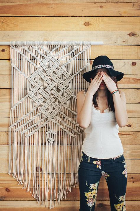 This large macrame wall hanging will become a perfect addition to an empty wall in the house. Choose this boho decor if you would like to add texture and style to your space. This bohemian wall art will let you creative personality shine through.