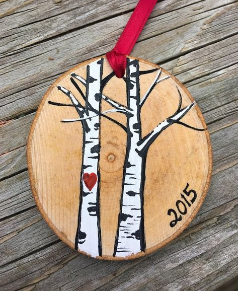 Natural Wood Slice Christmas ornament, birch trees with heart, wedding, engagement, friendship