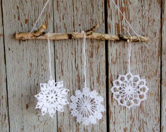 Items similar to Crochet snowflakes decoration - Christmas and winter ornament for cozy home on Etsy