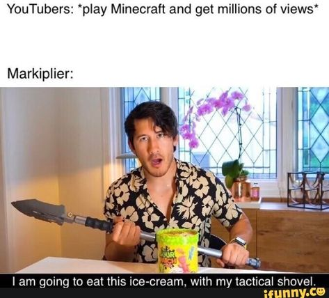 Found on iFunny Pewdiepie, Markiplier Memes, Youtube Markiplier, How To Play Minecraft, Minecraft Memes, Good Mythical Morning, Youtubers, Youtube Memes, Jokes