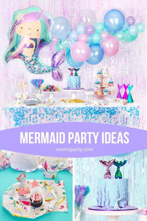 Kids Mermaid Garland Baby Shower Birthday Party Flag Mermaid Party Decor YBHFUK