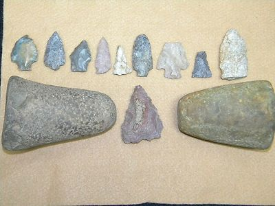 Arrowheads Rock Tools Native American Indian Tool Hatchet Spear Artifacts 11 pc