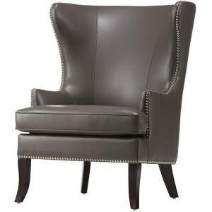 Enjoyable Moore Pebble Grey Wing Back Accent Chair Dh7110 Peb Machost Co Dining Chair Design Ideas Machostcouk