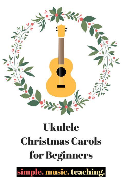 Get in the holiday spirit with these Ukulele Christmas Carols for beginners! Feliz Navidad, Deck the Halls, and Jingle Bells! Ukulele Songs Beginner, Ukulele Chords Songs, Cool Ukulele, Ukelele, Christmas Music, Christmas Carol, Christmas Ukulele Songs, Deck The Halls, Music Lessons