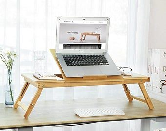 Lap Desk Oak Wood Laptop Stand Christmas Fathers Gift From Daughter Son Wife Mobile Workstation Portable Wooden Computer Tray With Mousepad In 2020 Lap Desk Workstation Wooden Tray