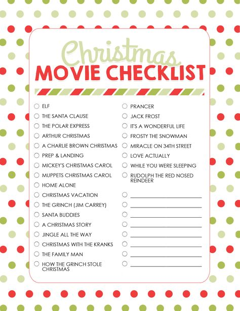 Christmas Movie Checklist. Be sure to watch at least some of these great Christmas movies this December. Start looking for great deals on DVDS or get ready to set your DVR. #christmas #movies