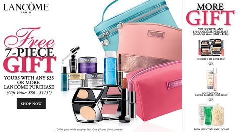 Free Lancôme gift @ Dillards. Giftset includes 7 items. http ...