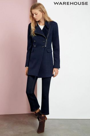 Buy Navy Warehouse Longline Peacoat from the Next UK online shop ...
