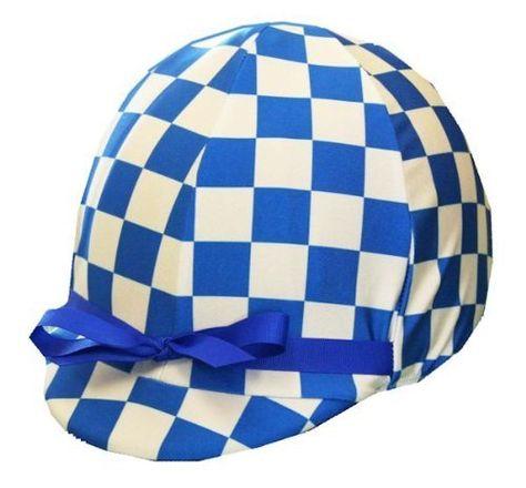 Equestrian Riding Helmet Cover - Royal Blue & White Check by Helmet Covers Etc. for Maisy's jockey costume
