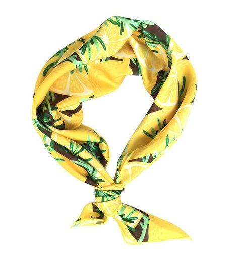 Scarves & Wraps, Fashion Scarves, Womens Neckerchief Yellow Lemon Print Square Hair Scarf Headband Yellow CU184DO63TY   #Scarves #Wraps  #Style #shopping #fashion #Fashion Scarves