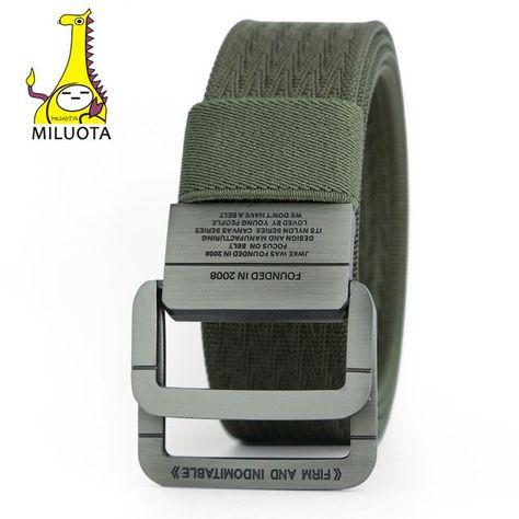 Cinturón de hombre lona militar táctico Anillo Doble Hebilla Gruesa Faja Correa