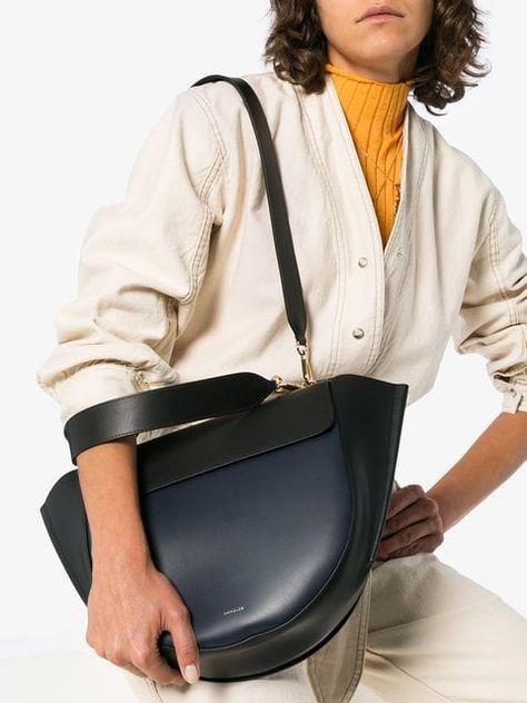 wandler black and navy hortensia large leather shoulder bag rh pinterest ie