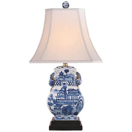 Blue And White Urn Porcelain Table Lamp, Blue Willow Table Lamps