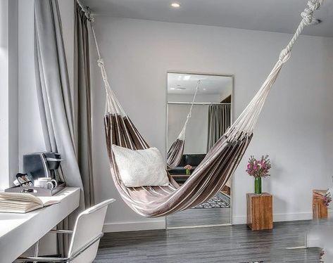 Top 40 Best Indoor Hammock Ideas Cozy Hanging Spots Living Room Hammock Room Hammock Indoor Hammock Bed