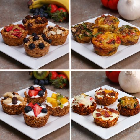 Easy and healthy muffin breakfasts - oatmeal muffins, egg cups, granola cups, and sweet potato hash.