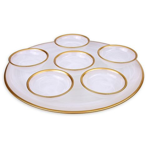 Classic Touch Trophy Alabaster White Seder Plate Plates Passover Feast Bath Beyond