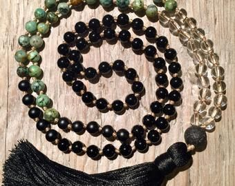 Traditional 108 Mala Prayer Yoga Aromatherapy Necklace with Labradorite Gemstones