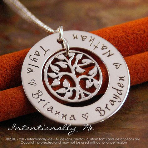 Hand Stamped Mommy Necklace - Personalized Jewelry - Sterling Silver Family Tree Pendant - My Family (Small Washer)