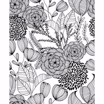 Peel-and-Stick Removable Wallpaper Navy Blue Florals Botanical Painted Doodle