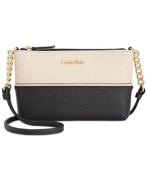 eea8868e17d1 Calvin Klein Mini Saffiano Leather Crossbody | Products | Leather ...