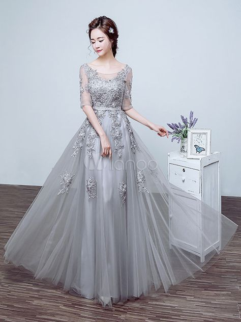3b11153f6 Silver Prom Dress Tulle Backless Party Dress Lace Applique Beading Illusion  Half Sleeve Scoop Neckline A Line Maxi Occasion Dress