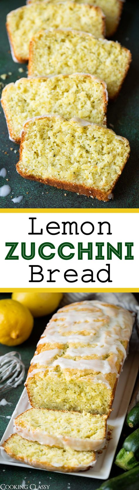 """Lemon Zucchini Bread - This is one of my new favorite ways to use up all that summer zucchini! It has such a bright sunny flavor and I can't get enough of that sweet glaze! You don't taste the zucchini it just adds an incredible moisture to the cake and adds some little green """"sprinkles."""" Everyone will love this bread! #lemon #zucchinibread #bread #dessert #summer #zucchini #recipe"""