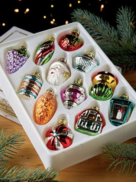 Old Fashioned Glass Ornament Collection Set Of 12 In 2020 Old Fashioned Glass Glass Ornaments Old Fashioned Christmas