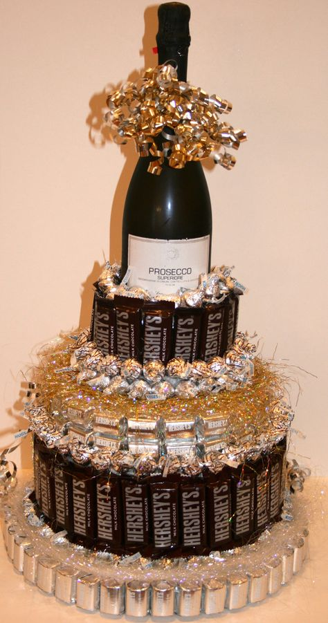 Chocolate Candy/ Wine Cake by CoveredInCandy on Etsy