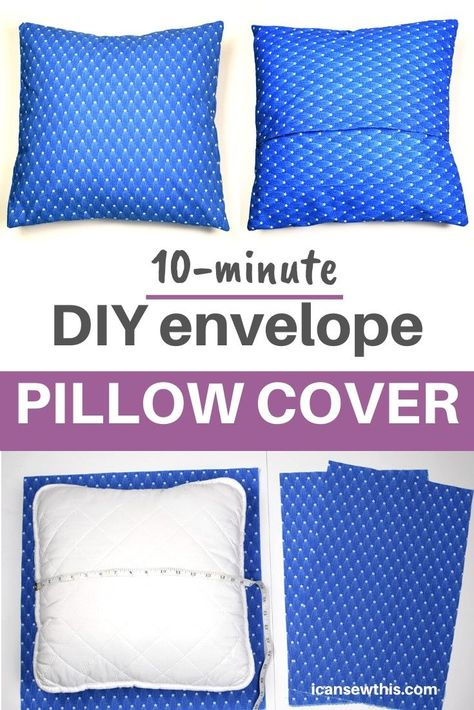 DIY envelope pillow cover is a perfect sewing project for beginners. Learn to make an easy envelope pillow cover in just minutes with this free sewing tutorial.The envelope pillow cover is a quick and Diy Throws, Diy Throw Pillows, Diy Pillow Covers, How To Make Pillows, Cushion Covers, Burlap Pillows, Decorative Pillows, No Sew Pillows, Square Pillow Covers