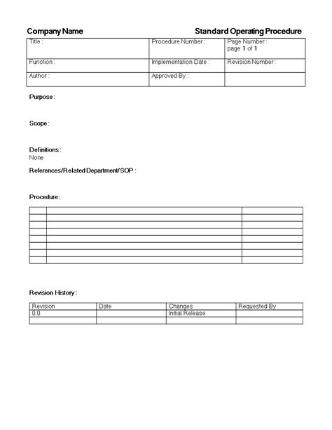 SOP Word Procedure Template Sop Pinterest Template, Standard - instruction manual template word