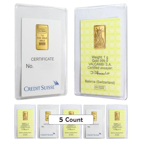 Lot Of 5 1 Gram Credit Suisse Statue Of Liberty Gold Bar 9999 Fine In Assay Gold Bar Credit Suisse Gold