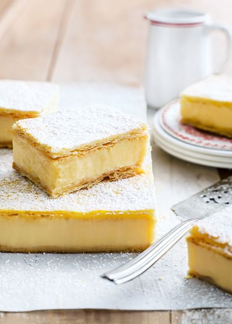 Vanilla custard slice (Donna Hay). Would probably be good with chocolate drizzled on top too.