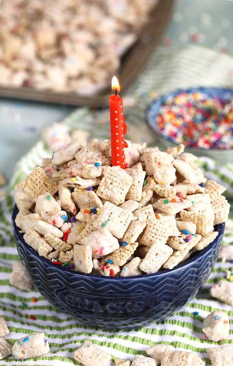 Peachy Birthday Cake Puppy Chow Recipe Muddy Buddy Recipe Puppy Chow Funny Birthday Cards Online Alyptdamsfinfo