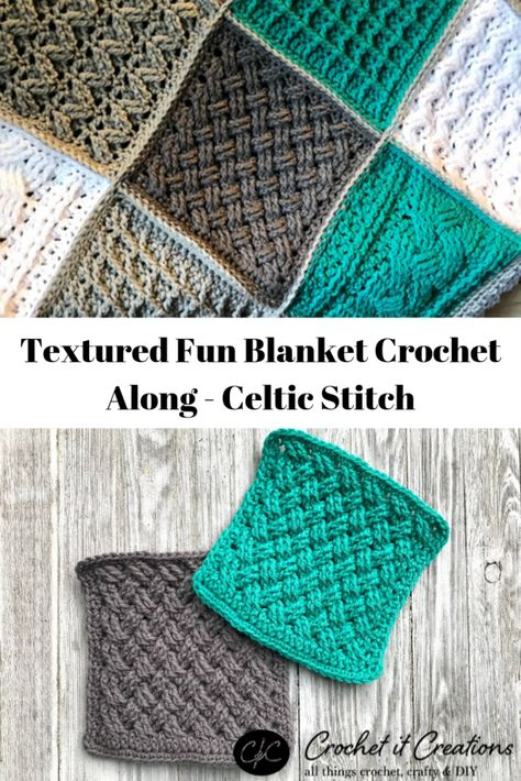 Celtic Stitch - Textured Fun Blanket Crochet Along - Crochet it Creations - - Learn how to crochet the fun Celtic Stitch technique with this free crochet pattern + photos + video tutorial. Crochet Square Patterns, Crochet Motifs, Crochet Blocks, Crochet Stitches Patterns, Crochet Squares, Blanket Crochet, Knit Crochet, Knitting Patterns, Granny Squares