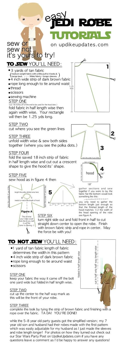 Quickest Easiest Tutorial on On How To Make 2 Types of Jedi Robes and As Cheap As Possible!  To Sew Or Not To Sew That is The Question!  For FREE STAR WARS PRINTABLES UPDIKEUPDATES.com is your ONE STOP PARTY SHOP Whether You're Making 1 or 20 for a Party Outfit/ Take Home Gift or Halloween Costume These Are a Cinch!