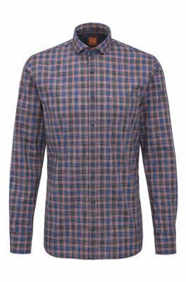 HUGO BOSS Plaid Cotton Button Down Shirt, Slim Fit Cattitude SBlue