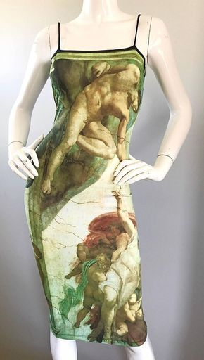 "Rare "" Creation Of Adam "" Michelangelo Bodycon Vintage Novelty Dress 2000s Fashion, Fashion Outfits, Summer Minimalist, Fairy Clothes, Celebrity Closets, Alternative Outfits, Look Cool, Aesthetic Clothes, Streetwear Fashion"