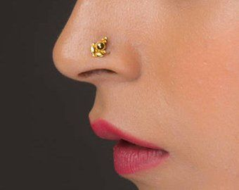 gift for mom gold nose ring Nose Ring 10kt Solid Gold Mothers day Nose Stud Gift for Her Flower Gold Nose Stud