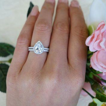 1.5 Ctw Classic Pear Halo Engagement Ring, Wedding Set, Man Made Diamond  Simulants, Half Eternity Ring, Sterling Silver, Pave Bridal Set