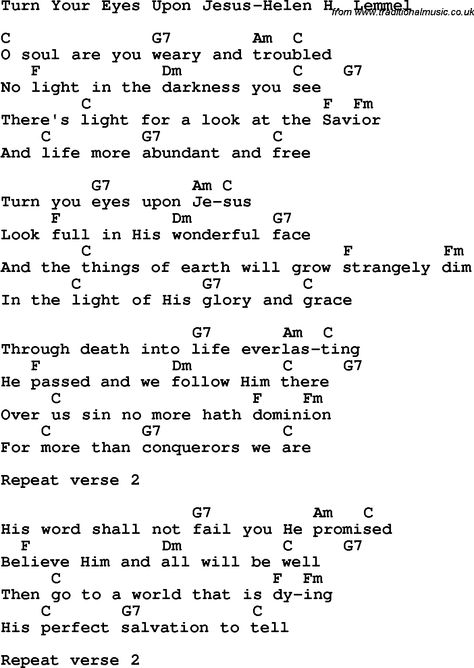 Country, Southern and Bluegrass Gospel Song Turn Your Eyes Upon Jesus-Helen H Lemmel Lyrics with chords