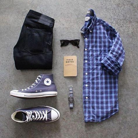 Black jeans blue plaid shirt