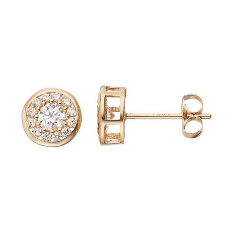 Gold N Ice 10k Gold Cubic Zirconia Halo Stud Earrings Women S White Halo Earrings Studs Stud Earrings 10k Gold