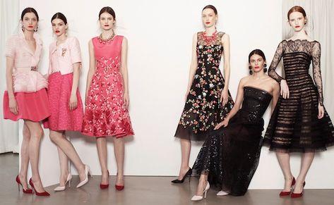 oscar de la renta resort 2014, statement jewelry, statement earrings, statement necklace, florals, lace, fit and flare dress, cocktail dress, pastels