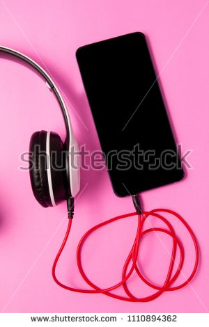 Top View Smart Phone Blank Space With Headphones On Pink Background Listen To Music Smartphone Photo Editing Pink Background