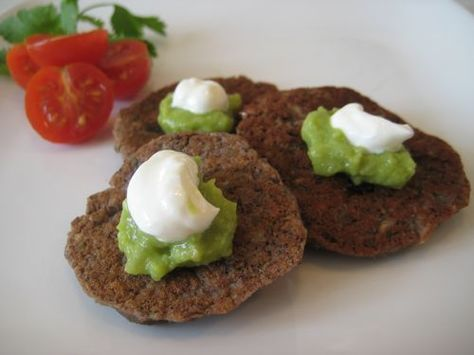 black bean cakes.  make sure the oil is good and hot before you start making these.  the dude ate them up though!