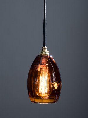 Bertie Small Amber Bee Blown Glass Pendant Light Blown Glass