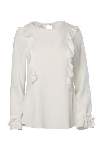 67ed55cc64 Biała bluzka z falbankami i rozkloszowanymi rękawami. Bluzka elegancka -  stylowa bluzka elegancka