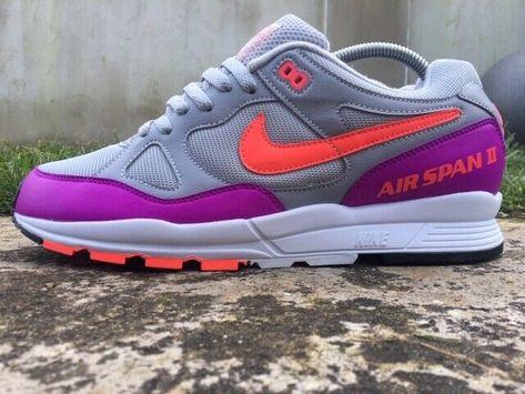 Nike ® Air Span II 2 Size 9 UK Men Trainers Wolf Grey Vivid